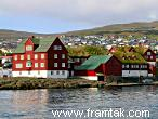 Tinganes - Faroese parliament buildings, some with grass roofs.